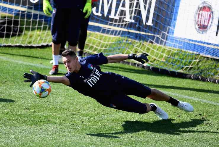 Pierluigi Gollini in allenamento con la nazionale azzurra