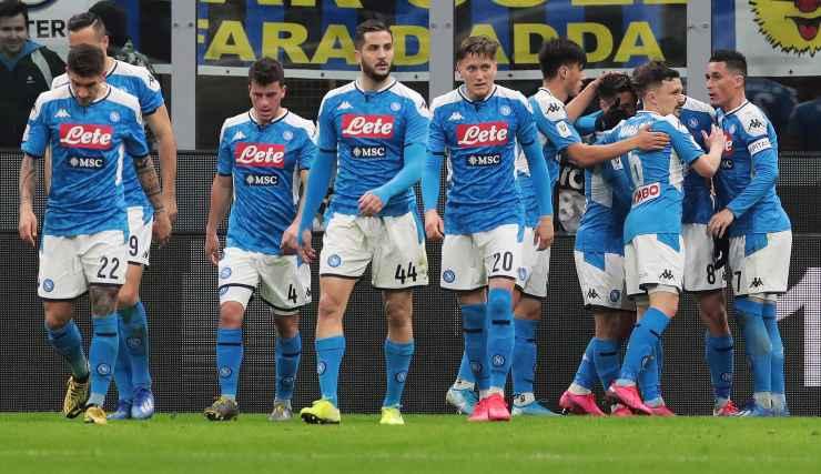Alcuni giocatori del Napoli in campo