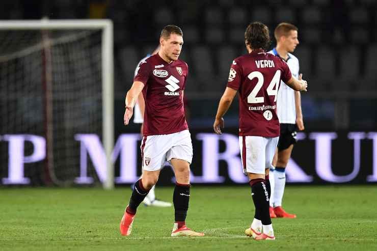 Andrea Belotti e Simone Verdi in campo con la maglia del Torino