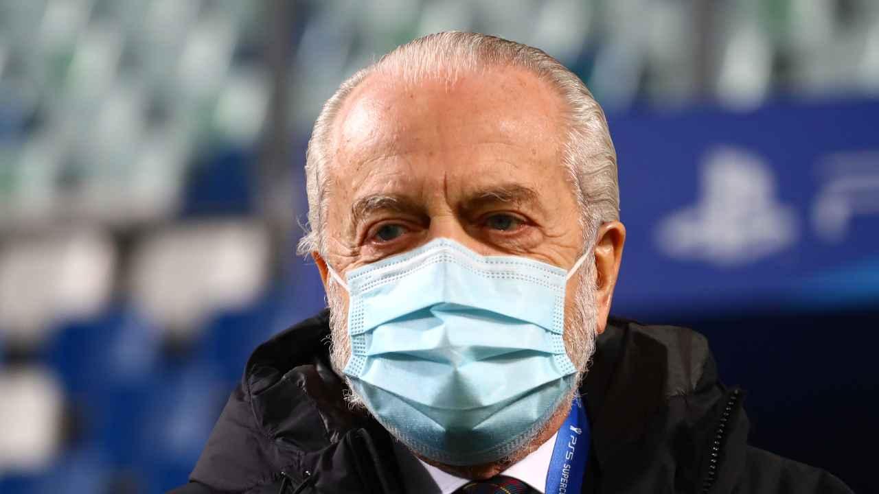 Calciomercato Napoli, Aurelio De Laurentiis con la mascherina