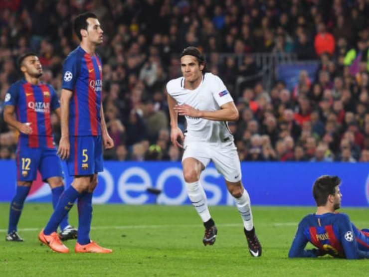 Cavani segna in Champions League contro il barcellona