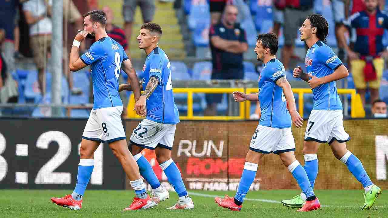 Giocatori del Napoli in campo