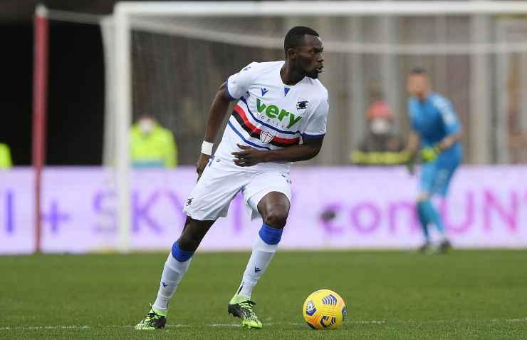 Omar Colley in campo con la maglia della Sampdoria