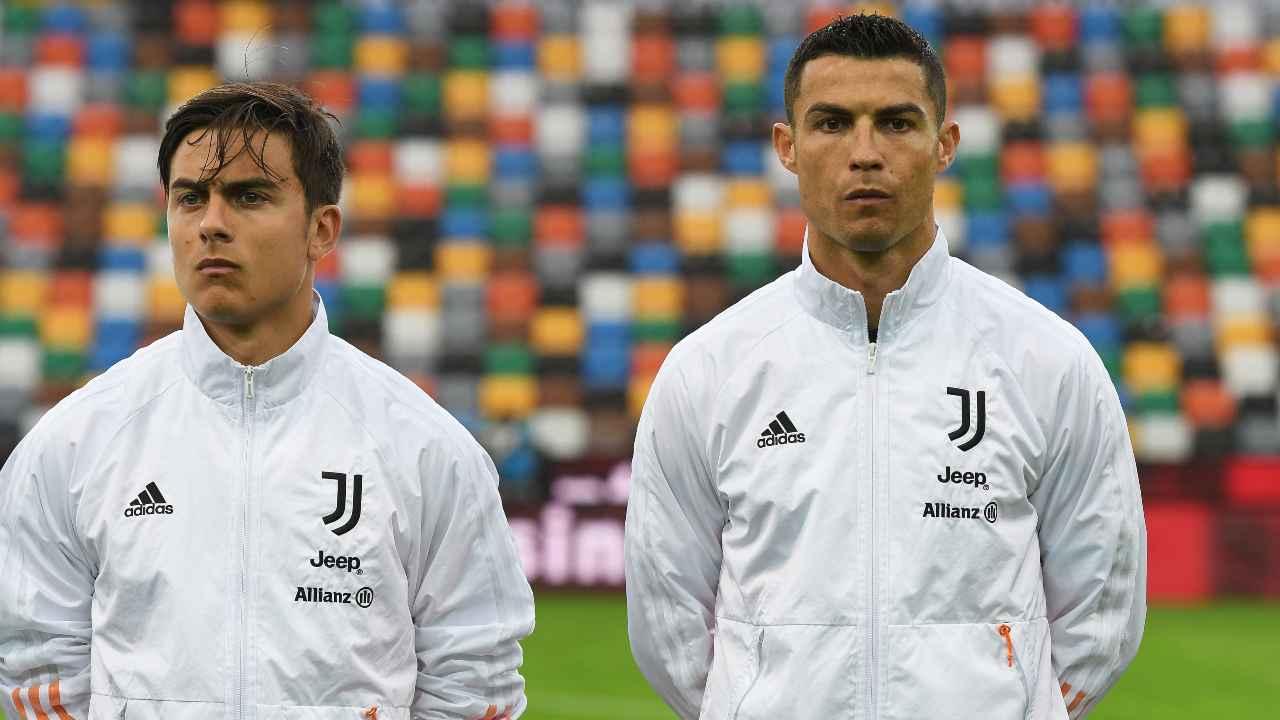 Paulo Dybala e Cristiano Ronaldo con la tuta della Juventus