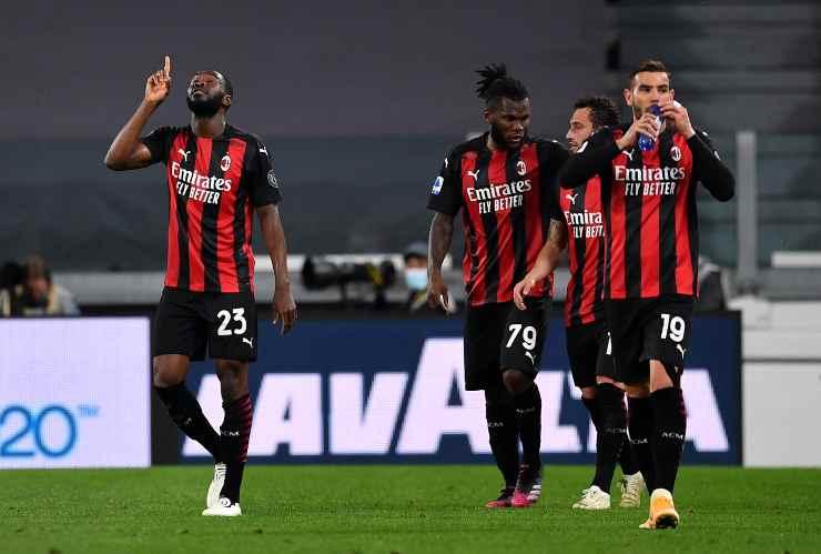 Alcuni giocatori del Milan in campo