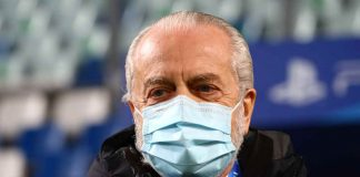 Napoli, Aurelio De Laurentiis con la mascherina