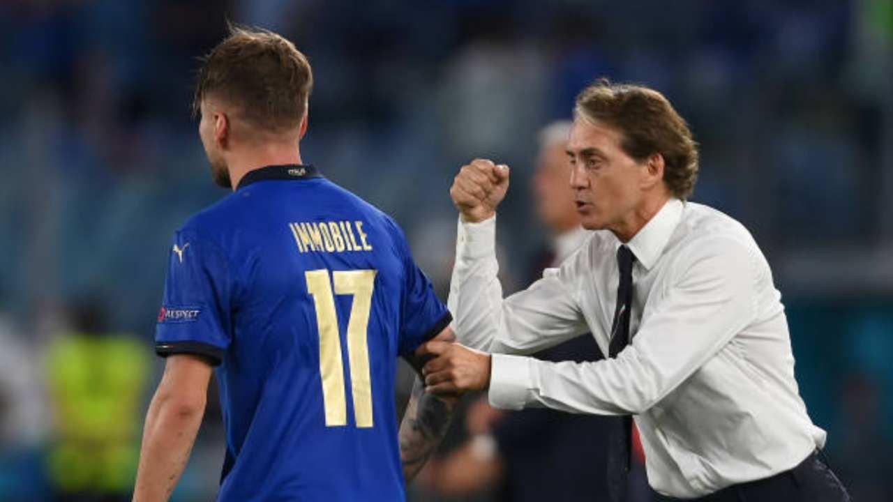 Immobile e Mancini, l'attaccante e l'allenatore della nazionale