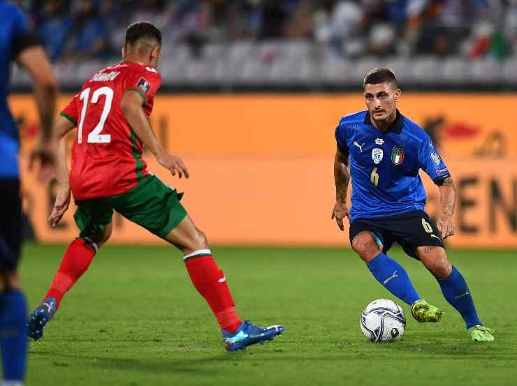 Marco Verratti in campo con l'Italia contro la Bulgaria