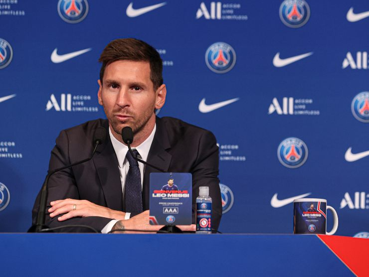 Messi in conf stampa - Getty Images