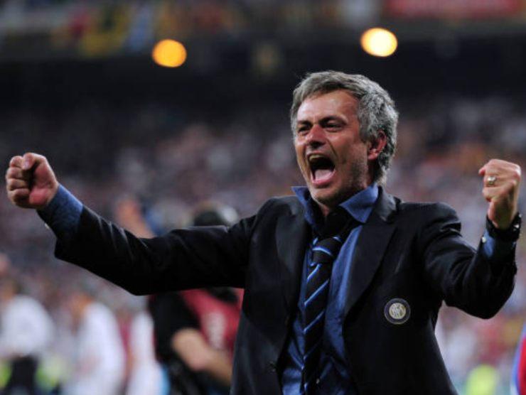 Mourinho esulta per un gol in finale di Champions