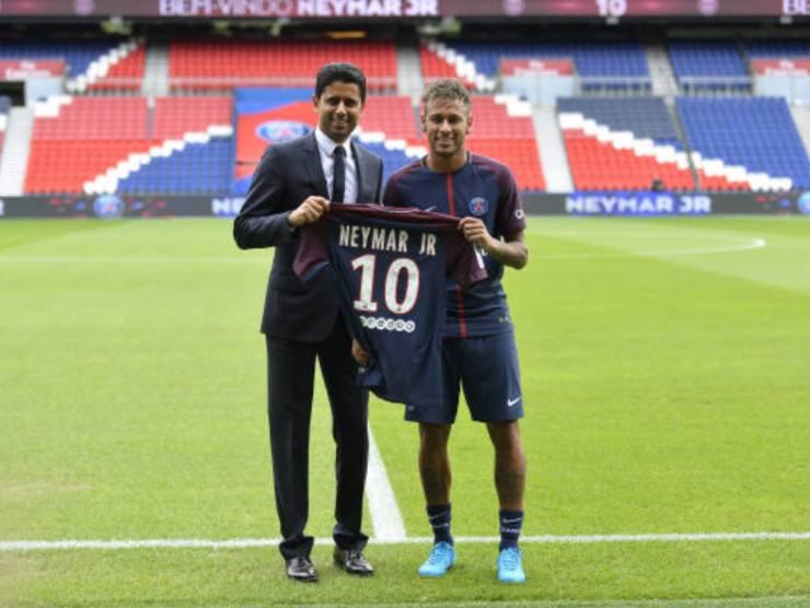 Neymar e Al-Khelaïfi, il presidente del PSG