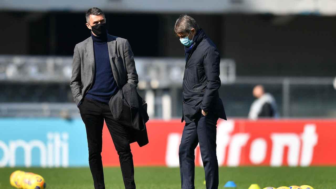 Milan messaggio, Paolo Maldini e Frederic Massara in piedi