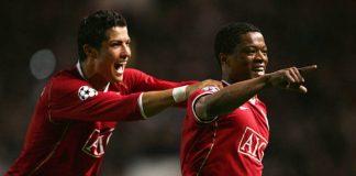 Ronaldo e Evra, compagni di squadra al Manchester United