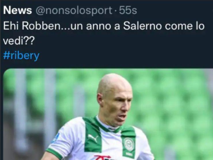 Tweet su Robben alla Salernitana